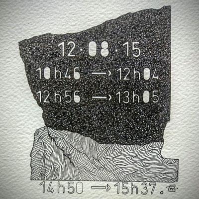 """Mercredi. """" TEMPOREL-XIII """"- 02 h 16 mn. Série 2. Pointe fine sur papier. Format: 15 X 15 cm."""
