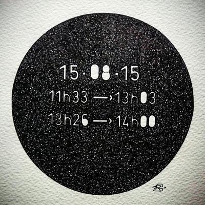 "Samedi . "" TEMPOREL - XVI ""- 02 h 04 mn. Série 2. Pointe fine sur papier. Format : 15 x 15 cm."