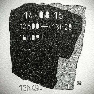 """Vendredi ."""" TEMPOREL -XV """"-02 h 18 mn. Série 2. Pointe fine sur papier. Format : 15 x 15 cm."""