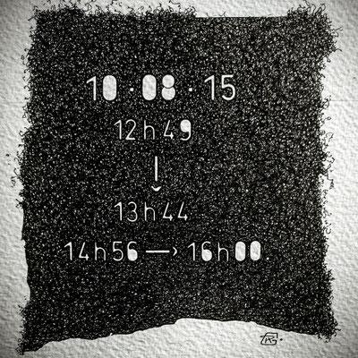 """Lundi . """" TEMPOREL-XI """"- 01 h 49 mn. Série 2. Pointe fine sur papier. Format : 15 x 15 cm."""