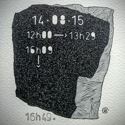 """Vendredi."""" TEMPOREL-XV """" - 02 h 18 mn. Série 2. Pointe fine sur papier. Format: 15 X 15 cm."""