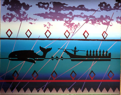 """Successful Whale Hunt"" Serigraphy 2016 Alex McCarty Makah"