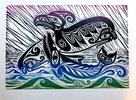 """The Whale Hunter"" Linocut 2017 Alex McCarty Makah"