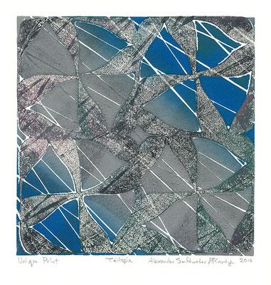 """""""Frozen Rain"""" Linocut w/stencil, 2010"""