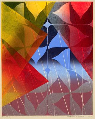 """Tail Spin"" Linocut w/stencil, 2000"