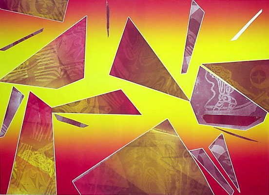 """Culture Shock"" Monotype w/stencils, 2000"