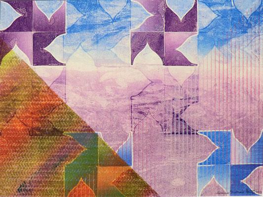 """Reflections"" Monotype w/stencils, 2013"