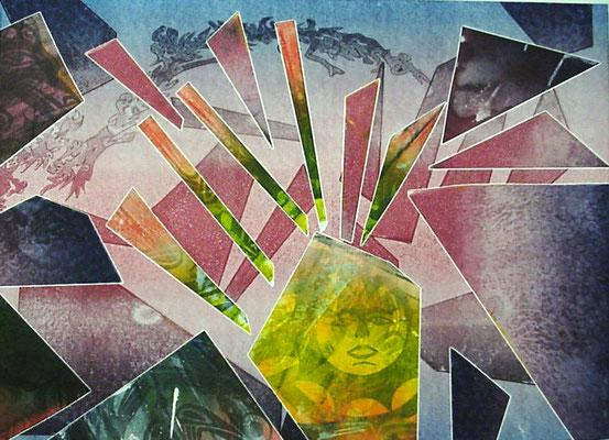 """Sunrise"" Monotype w/stencils, 2000"