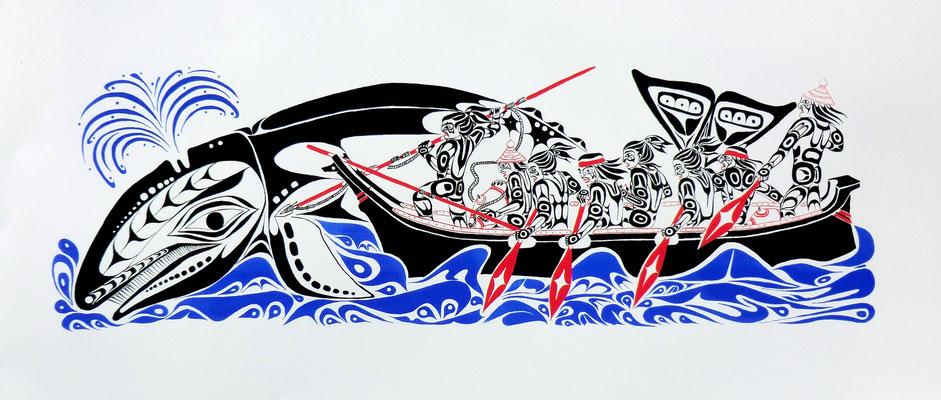 """Makah Whale Hunt"" Serigraph, 2000"