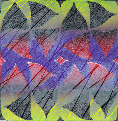 """""""Purple Frost"""" Linocut w/stencil, 2010"""