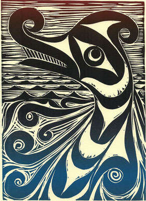 """Sea Serpent"" Linocut, 2011"