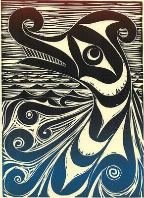 """Sea Serpent"" Linocut, 2011"