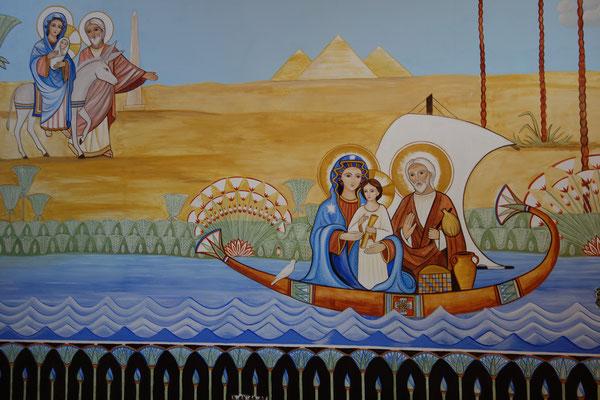 Daniela Rutica & Angela Kaiser: Die Hl. Familie in Ägypten, Kirchenmalerei mit Naturfarben auf ca. 40 m² in Borgentreich, 2020