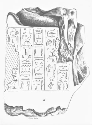 Zeichnung der Statuette der königlichen Amme Senetnay im Musée de Design et d'Art in Lausanne, Zeichnung: Daniela Rutica