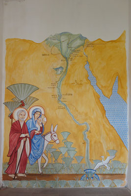 Daniela Rutica, Die Hl. Familie in Ägypten, Wandmalerei mit Naturfarben im Koptischen KLoster Brenkhausen, 2017