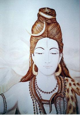 """Daniela Rutica, """"Shiva"""", 100 x 160 cm, Acryl/Lw., 2005"""