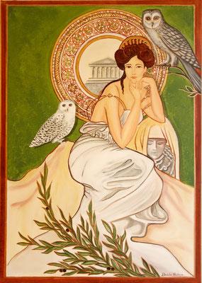 Daniela Rutica: Pallas Athene, 50 x 70 cm, Acryl/Lw, 2019