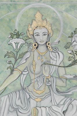 Daniela Rutica: Die Grüne Tara (Detail), 70 x 70 cm, Acryl/Lw, 2005