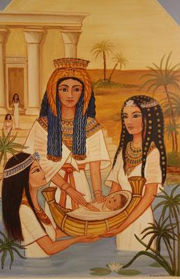 Daniela Rutica, DIe Tochter des Pharao findet Mose - oder Exodus 2,5, Mischtechnik / Lw., 200 x 90 cm, 2020