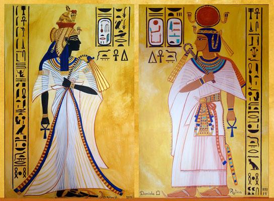Daniela Rutica: Ahmes Nefertari und Amenhotep I.(Diptychon), 2x 120 x 90 cm, Kasein und Acryl/Lw, 2015