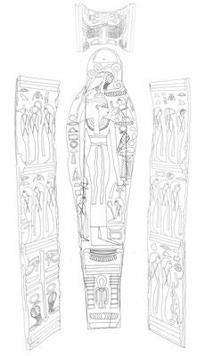 Sarg eines anonymen Mannes aus Bab el-Gasus (21. Dynastie), heute im Museum Appenzell, Zeichnung: (c) Daniela Rutica für das Swiss Coffin Project
