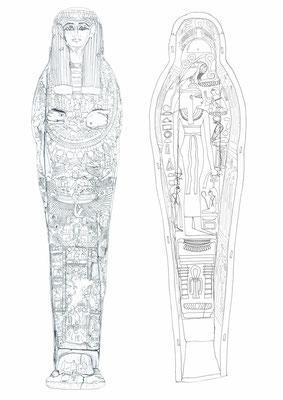 Sarg und Sargdeckel eines anonymen Mannes aus Bab el-Gasus (21. Dynastie), heute im Museum Appenzell, Zeichnung: (c) Daniela Rutica für das Swiss Coffin Project