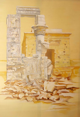 Daniela Rutica: Kleopatras Tempel in Armant, 100 x 70 cm, Acryl/Lw, 2014