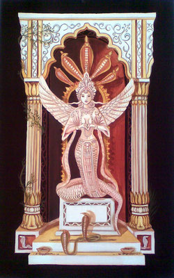 "Daniela Rutica, ""Naga Kanya"", 50 x 80 cm, Acryl/Lw., 2008"