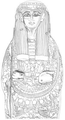 Sargdeckel eines anonymen Mannes aus Bab el-Gasus (21. Dynastie), heute im Museum Appenzell, Zeichnung: (c) Daniela Rutica für das Swiss Coffin Project