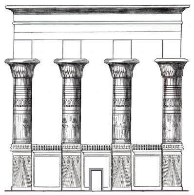 Rekonstruktion von Säulen des Tempels von Kleopatra VII. in Hermonthis, Zeichnung: Daniela Rutica