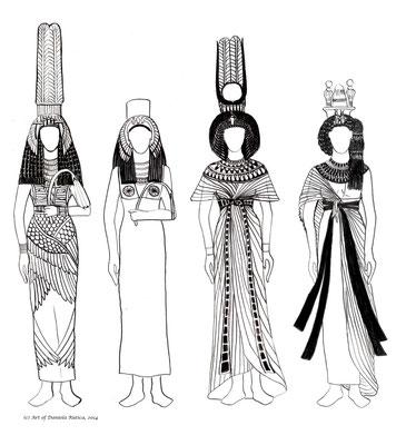 Kleidung und Kronen ägyptischer Königinnen der 18. Dynastie (hier Teje und Anchesenamun), Kostümzeichnungen von Daniela Rutica, 2014