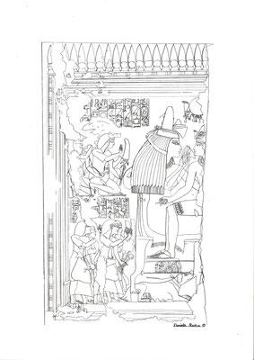 Umzeichnung der Szene aus dem Grab der königlichen Amme Maja in Saqqara, Zeichnung: Daniela Rutica