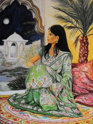 Daniela Rutica: Indian Night, 50 x 70 cm, Acryl/Lw, 2012