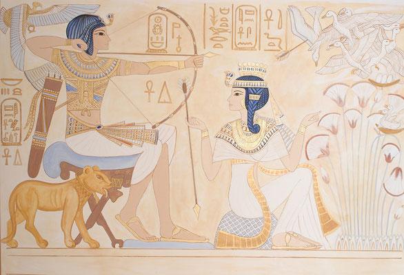 Daniela Rutica: Tutanchamun und Anchesenamun - Die Vogeljagd, 200 x 280 cm, Acryl/Lw, 2005