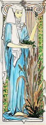 Daniela Rutica: St. Hildegard, ca. 60 x 180 cm, Acryl/ Hartfaserplatte, 2003