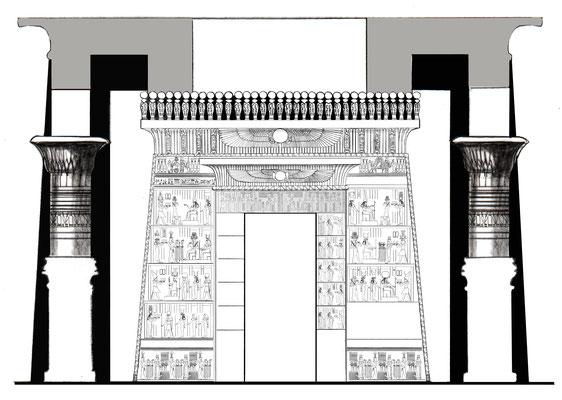 Rekonstruktion der Eingangsfassade des Tempels von Kleopatra VII. in Hermonthis, Zeichnung: Daniela Rutica