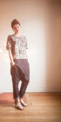 Eugènie : blouse empiècement devant 100% coton, Hippolyte : sarouel 100% coton - Collection Romantic - Jeanne Berre
