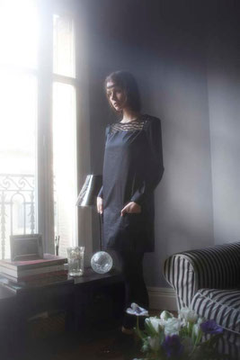 Ophélie : robe dentelle, dentelle 100% polyester - 100% coton glaçé - Jeanne Berre