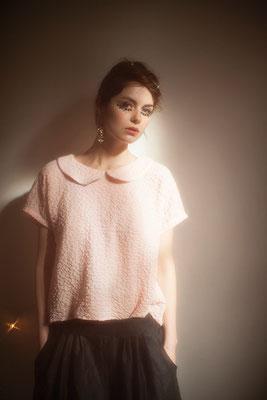 Thelma : blouse col claudine 100% crépon de coton - Collection Romantic - Jeanne Berre