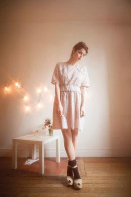Lolita : robe empiècement devant 100% coton - Collection Romantic - Jeanne Berre