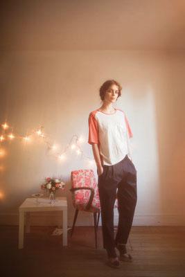 Céleste : tee-shirt sérigraphie 100%  coton, Orlando : pantalon 100% coton - Collection Romantic - Jeanne Berre