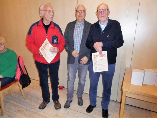 v.l. Klaus Freitag, 1. Vors. Friedhelm Imhof und Günter Werner
