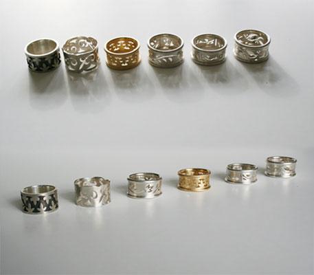 Ringe, 925 Silber und 750 Gold,  Ornamente gesägt