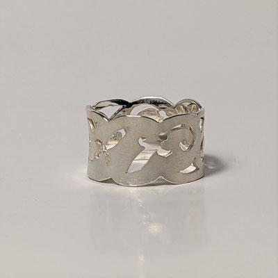 Ring 925 Silber, Ornament gesägt