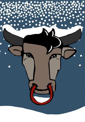 54 Stier im Schnee