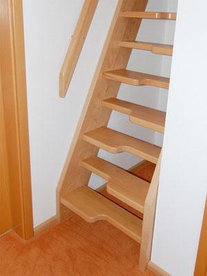 Gerade Raumspartreppe mit geschweiften Stufen
