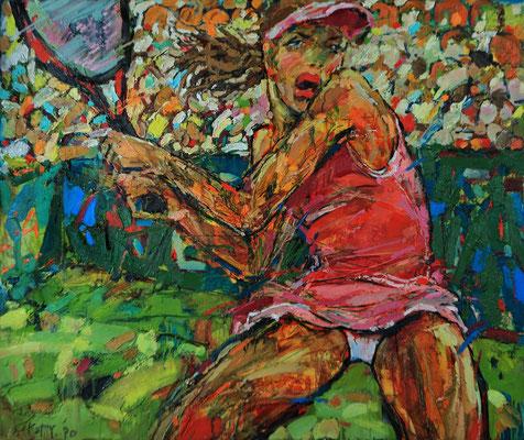 Катерина Поединщикова.    Юная теннисистка.    2013 г.  Холст, масло. 100х120 см.