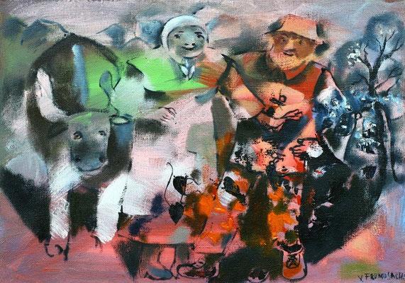 Владимир Фрумусаки.       Вспоминаем молодость.     2013 г.     Холст, масло.     48х68 см.