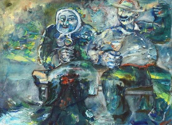 Владимир Фрумусаки.        Дедушка с бабушкой.       2000 г.     Холст, масло.     70х52см.