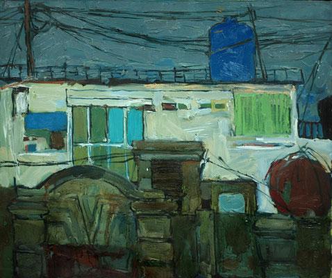 Катерина Поединщикова.    Вид из окна.    2013 г.   Холст, масло.   75х90 см.